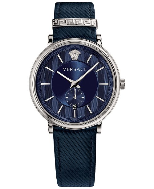828fdf59f8 Versace Men s Swiss V-Circle Manifesto Edition Blue Leather Strap Watch 42mm  ...