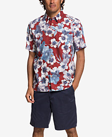 Quiksilver Waterman Men's Rain Flowers Hawaiian Shirt