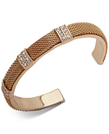 Anne Klein Gold Pavé Mesh Cuff Bracelet Created For Macy S
