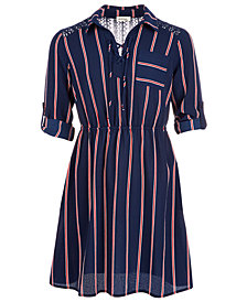 Monteau Big Girls Striped Lace-Up Shirtdress
