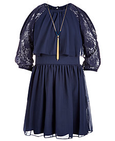 Us Angels Big Girls 2-Pc. Lace-Sleeve Dress & Necklace Set