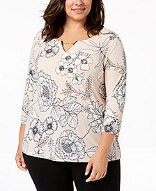 Calvin Klein Plus Size Floral-Print Chain-Neck