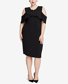 RACHEL Rachel Roy Trendy Plus Size Clemence Cold-Shoulder Scuba Dress