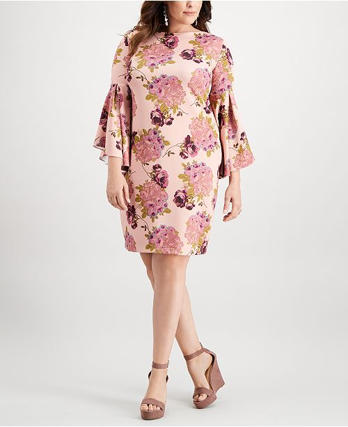 6ca8eda8cac Betsey Johnson Plus Size Floral Bell-Sleeve Dress   Reviews ...