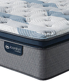 "iComfort by Serta Blue Fusion 300 14"" Hybrid Plush Euro Pillow Top Mattress Set - King with Adjustable Base"