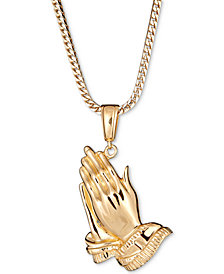 "Praying Hands 24"" Pendant Necklace in 18k Gold-Plated Sterling Silver"