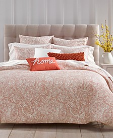 CLOSEOUT! Paisley Cotton 300-Thread Count 3-Pc. Full/Queen Duvet Cover Set, Created for Macy's