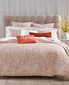 CLOSEOUT! Charter Club Damask Designs Spice Paisley 300-Thread Count 3-Pc. Duvet Cover Sets, Created for Macy's
