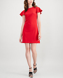 Calvin Klein Flutter-Sleeve Mini Dress