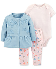 Carter's Baby Girls 3-Pc. Cotton Bows Jacket, Striped Bodysuit & Printed Pants Set