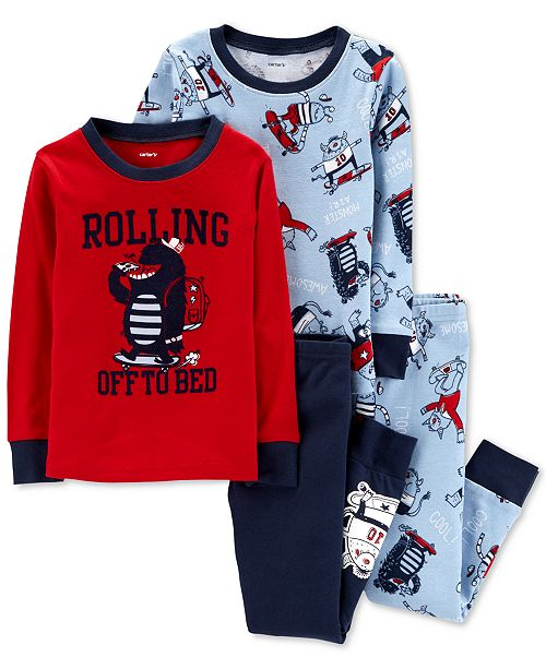 6283e0350 Carter s Baby Boys 4-Pc. Skating Monster Cotton Pajamas Set ...