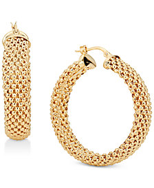 Mesh Hoop Earrings in 14k Gold-Plated Sterling Silver