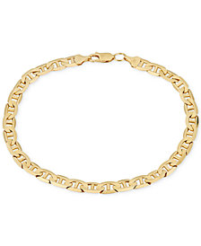 Men's Open Link Chain Bracelet in Solid 10k Gold