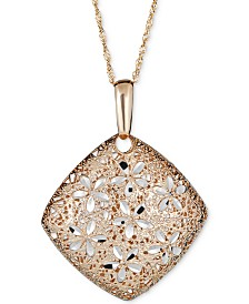 "Two-Tone Textured Floral 18"" Pendant Necklace in 14k Gold & White Gold"
