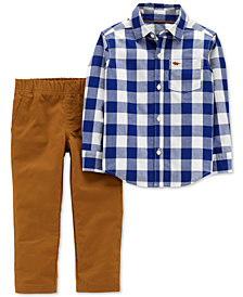 Carter's Toddler Boys 2-Pc. Cotton Gingham Button-Front Shirt & Canvas Pants Set