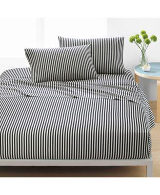 Ajo Cotton 200-Thread Count 3-Pc. Black Stripe Twin XL Sheet Set