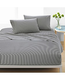 Ajo Cotton 200-Thread Count 3-Pc. Black Stripe Twin XL Sheet Set
