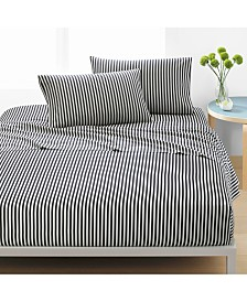 Marimekko Ajo Cotton 200-Thread Count 4-Pc. Black Stripe Full Sheet Set
