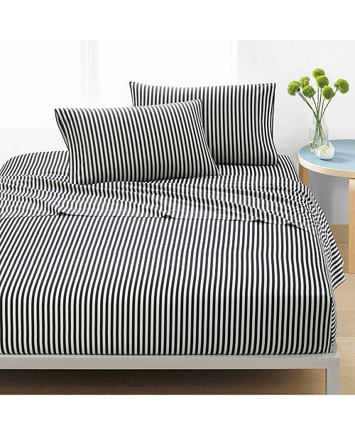Marimekko Ajo Cotton 200-Thread Count Black Stripe Sheet Sets