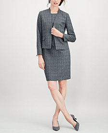 Kasper Plaid Stand-Collar Flyaway Jacket & Sheath Dress