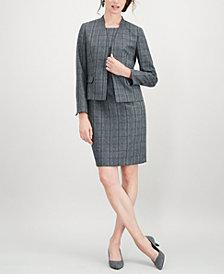 Kasper Plaid Stand-Collar Flyaway Jacket & Sheath Dress