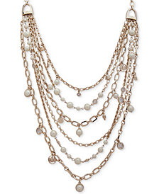 "Lauren Ralph Lauren Gold-Tone Crest & Imitation Pearl Multi-Row 18"" Statement Necklace"