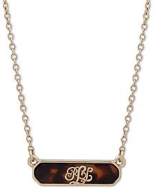 """Lauren Ralph Lauren Gold-Tone Logo Tortoise-Look Pendant Necklace, 16"""" + 3"""" extender"""