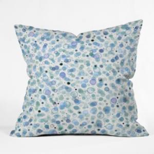 Deny Designs Ninola Design Baby Bubbles Dream Soft Blue Circles Throw Pillow