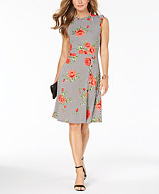 Monteau Petite Printed Cap-Sleeve Midi Dress