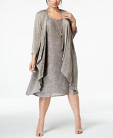 R & M Richards Plus Size Pleated Dress and Draped Jacket