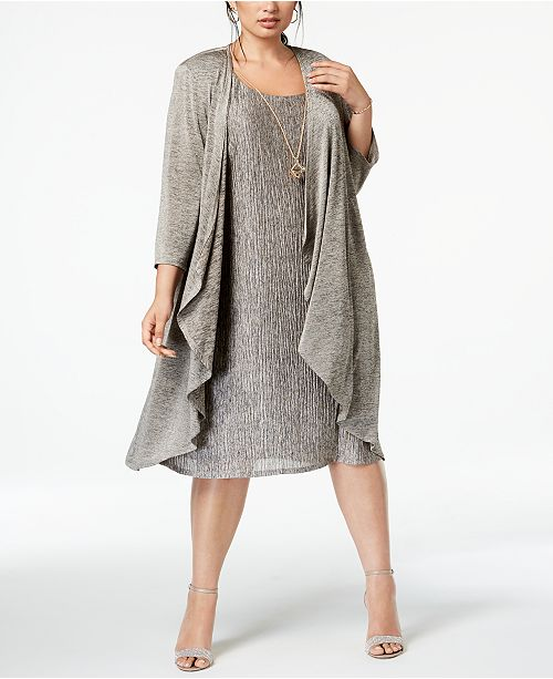 Plus Size Pleated Dress and Draped Jacket