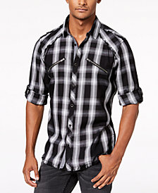 I.N.C. Men's Plaid Utility Shirt, Created for Macy's