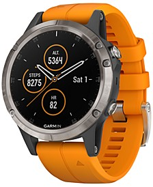 Unisex fenix® 5 Plus Spark Orange Band Smart Watch 47mm