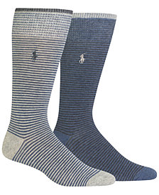 Polo Ralph Lauren Men's 2-Pk. Heathered Stripes Socks
