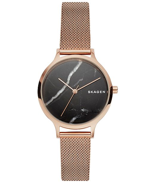 a9eee245ce4 ... Skagen Women s Anita Rose Gold-Tone Stainless Steel Mesh Bracelet Watch  ...