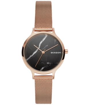 Skagen WOMEN'S ANITA ROSE GOLD-TONE STAINLESS STEEL MESH BRACELET WATCH 34MM