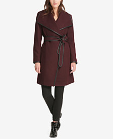 DKNY Faux-Leather-Trim Belted Wrap Coat, Created for Macy's