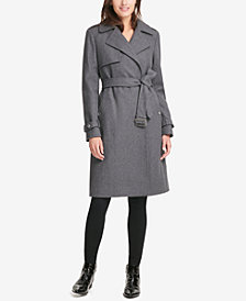 DKNY Double-Breasted Fit & Flare Peacoat, Created for Macy's