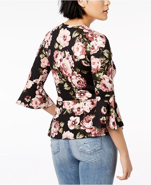 Wrap BCX Top Printed Open Sleeve Bell Juniors' waq4xIa0