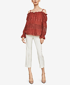 BCBGMAXAZRIA Off-The-Shoulder Embroidered Peasant Top
