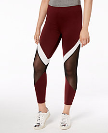 Material Girl Juniors' Contrast Stripe & Mesh Leggings, Created for Macy's