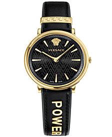 Versace Women's Swiss V-Circle Manifesto Edition Black Leather Strap Watch 38mm