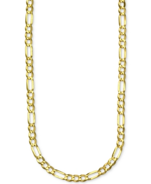 """Figaro Link 30"""" Chain Necklace in 14k Gold"""