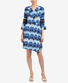 NY Collection Printed Crochet-Sleeve Wrap Dress