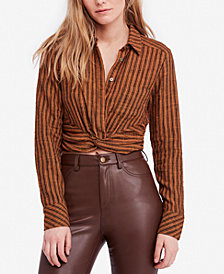 Free People Lust For Life Striped Twist-Front Top