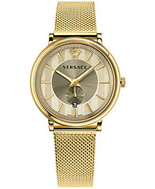 Versace Men's Swiss V-Circle Manifesto Edition Gold-Tone Stainless Steel Mesh Bracelet Watch 42mm