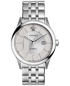Versace Men's Swiss Automatic Aiakos Stainless Steel Bracelet Watch 44mm