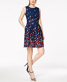 Anne Klein Simone Printed Fit & Flare Dress