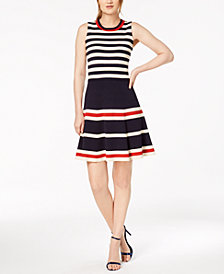 Anne Klein Striped Fit & Flare Dress
