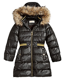 MICHAEL Michael Kors Big Girls Hooded Metallic-Waist Jacket with Faux-Fur Trim